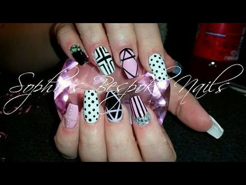 Acrylic Nails l Pink & White Girly l Nail Design - Acrylic Nails L Pink & White Girly L Nail Design - YouTube