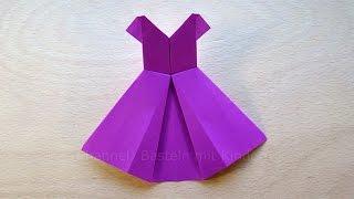 Origami Kleid falten mit Papier - Basteln mit Kindern - DIY - Basteln Ideen - Kleidung