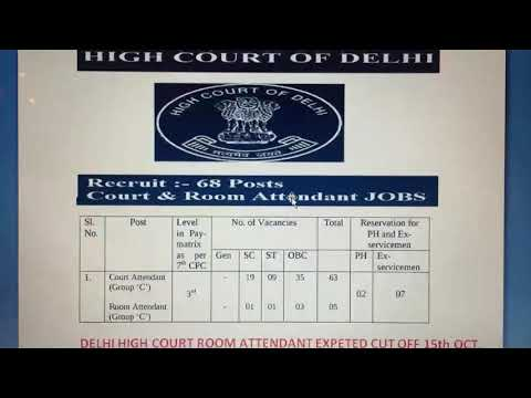 Delhi High Court Room Attendant Cut Off