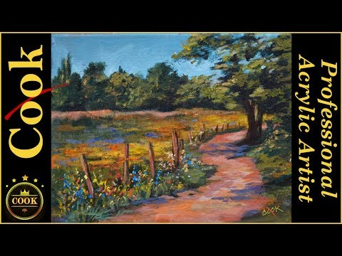 Painting a Country Meadow in Acrylics with Ginger Cook