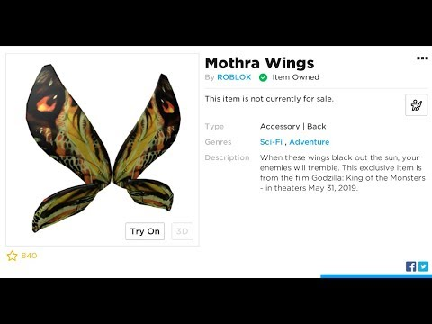Roblox Codes For Wings 2019 New Roblox Promo Code Free Wings Moth Wings Youtube
