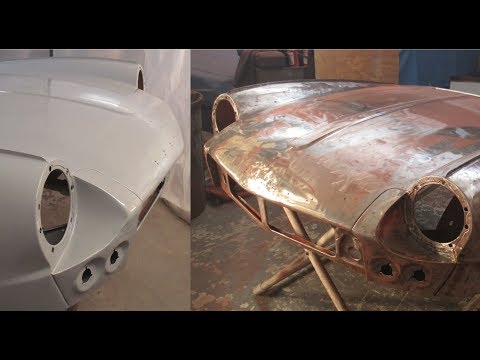 Spraying Epoxy Primer - Bonnet - Roundtail Restoration
