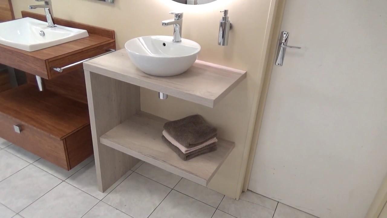 Atlantic Bain Morisseau Vertou meuble de salle de bain étagère ouverte effet bois - miroir led rond -  atlantic bain