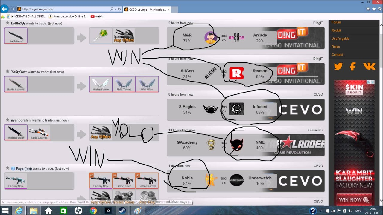 Csgo lounge live betting online trading binary options with candlesticks exercise