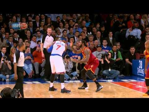 Carmelo Anthony Drives Baseline and Dunks on Tyler Zeller!