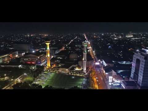 Masjid Raya Bandung Night View Aerial Video