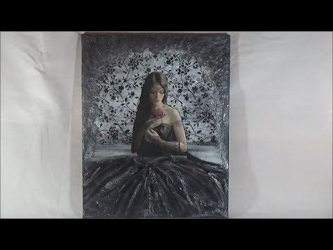DIY Mixed media on canvas-Lady in black/Μικτές τεχνικές σε καμβά