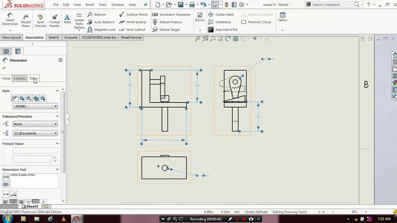 FONT SIZING OF DIMENSIONS IN DRAFTING IN SOLIDWORKS