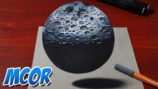 Como Dibujar la Luna en 3D   Dibujo anamorfico