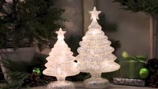 80240 Set of 2 LED Light-UP Glittery Christmas Trees Thumbnail