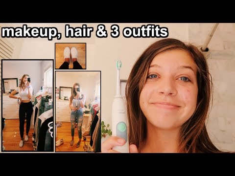 FIRST DAY OF SCHOOL GRWM (3 outfits, makeup, & hair)