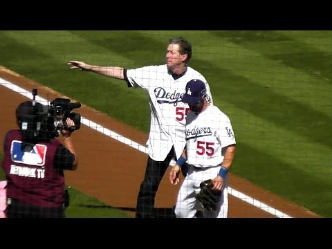 Orel Hershiser Throws 1st Pitch at Dodger Stadium 10-16-14 - New SportsNet LA Host