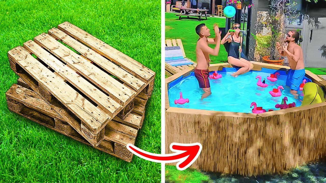 How To Build Your Own Swimming Pool || Dollar Store DIY Ideas From Wooden Pallets