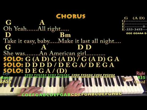 American Girl (Tom Petty) Piano Cover Lesson in D with Chords/Lyrics - Arpeggios