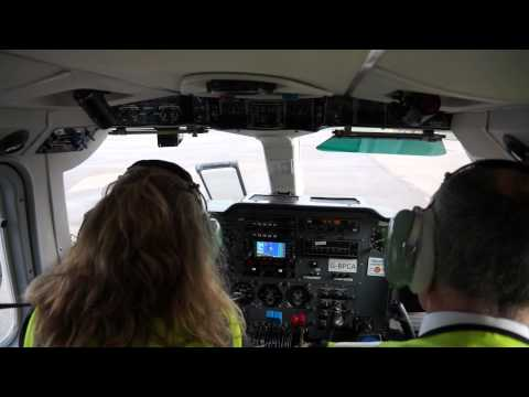 Female Loganair Pilot is taking off from Kirkwall Airport, ORKNEY.Watch HD and full screen