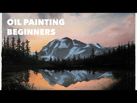 BEGINNER Oil Painting Tutorial – How to Paint a Mountain Sunset Scenery