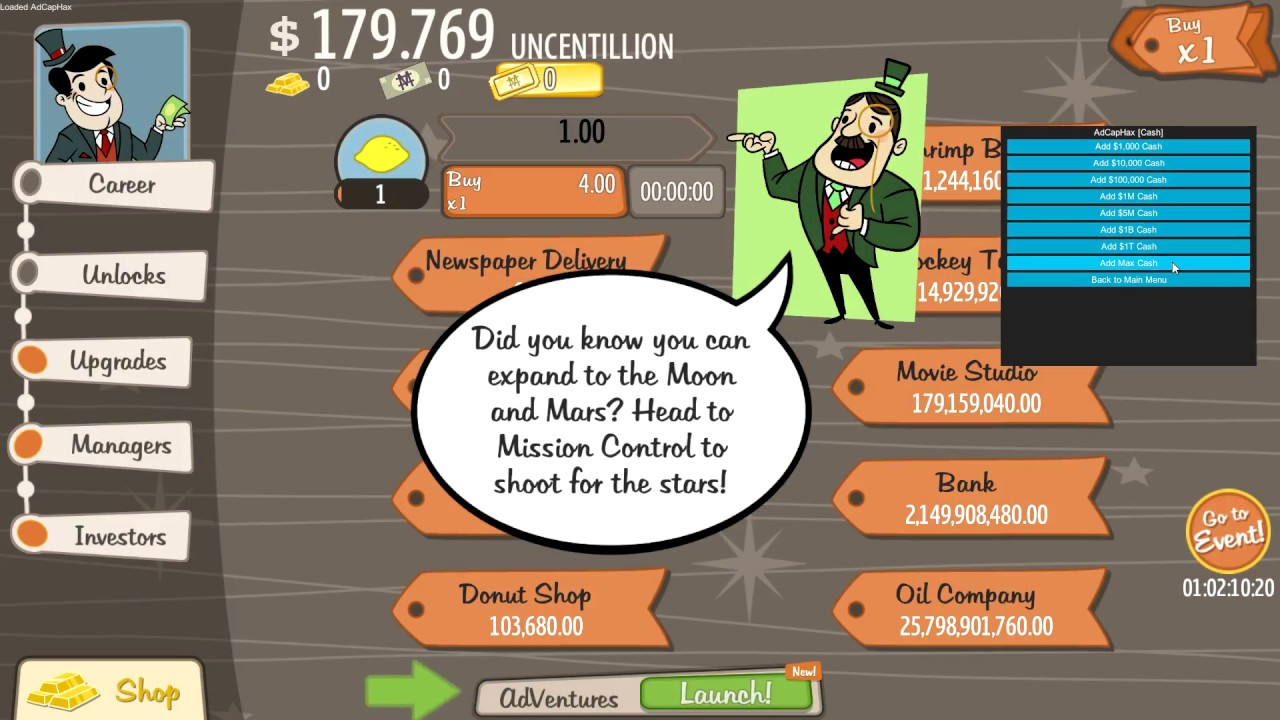 AdVenture Capitalist Hack Menu `AdCapHax` [RELEASE] [FREE] by Zerotica