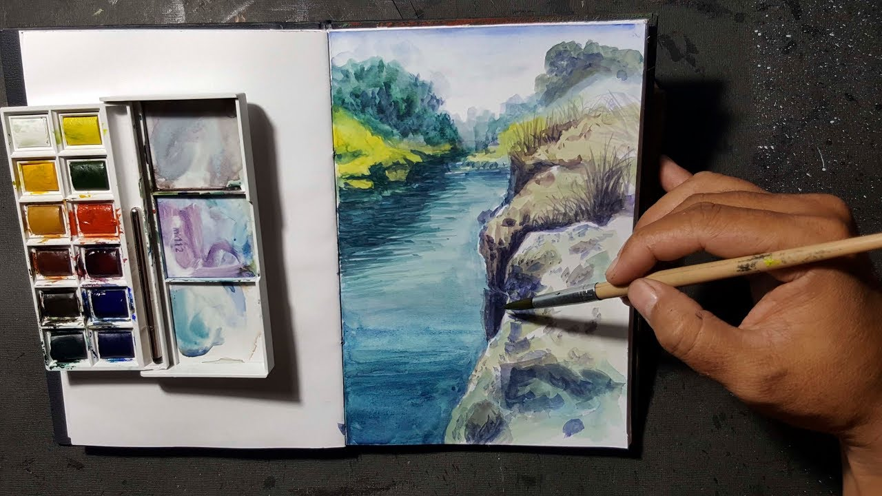 Lukis Pemandangan Menggunakan Cat Air Water Colour