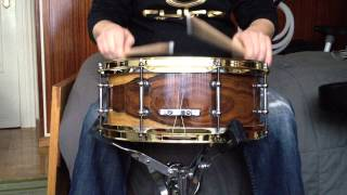 "Ruke Custom Drums - Exotic Java Rosewood 13""x5.5"". Solid Staves."