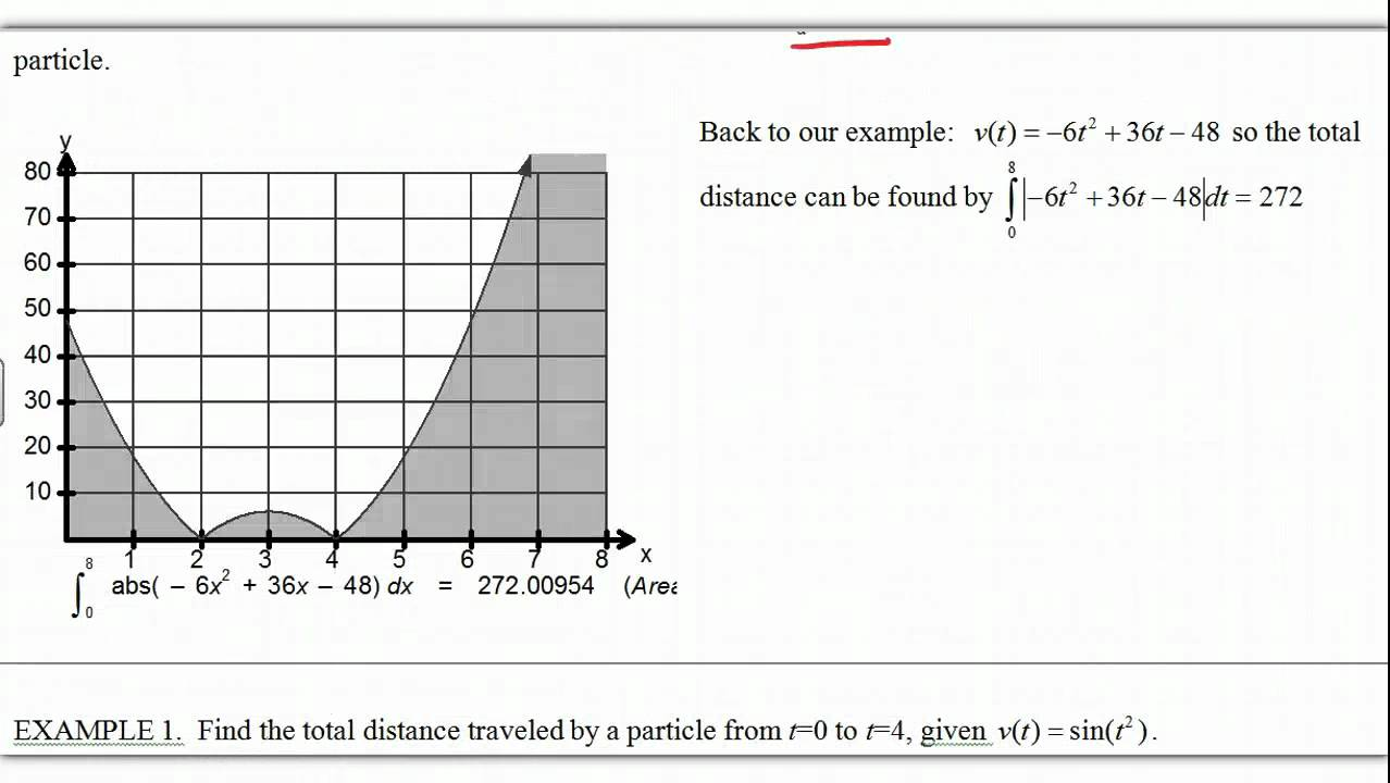 Calculus notes on Displacement and Total Distance Traveled