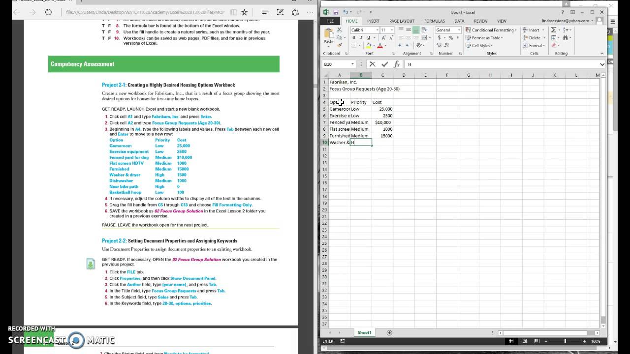 microsoft excel project 2 1 youtube