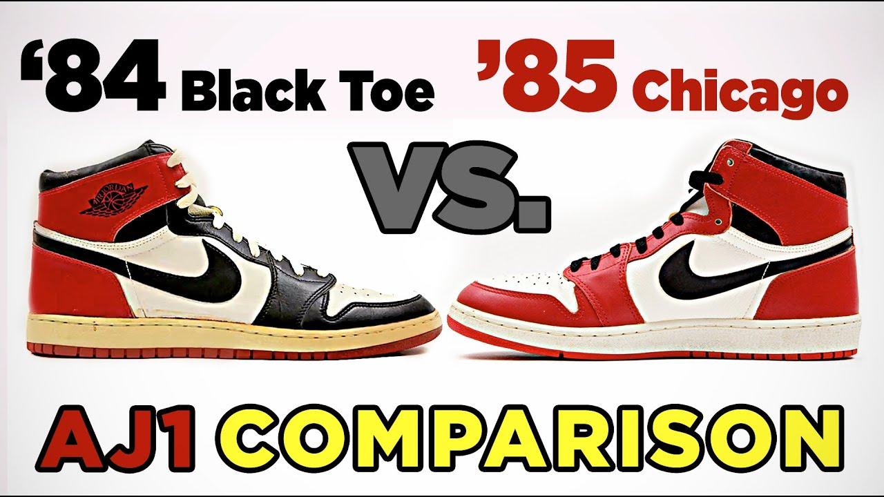 Nouvelles Arrivées 235c6 69deb 1984 Black Toe PE vs. 1985 AJ1 Chicago PE - Comparison
