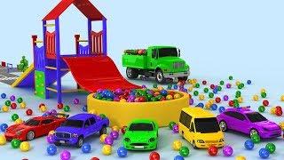 apprendre les couleurs Camion Tracteur sauter des voitures en Balles
