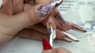 Наращивание ногтей форма современный миндаль, выкладной белый френч