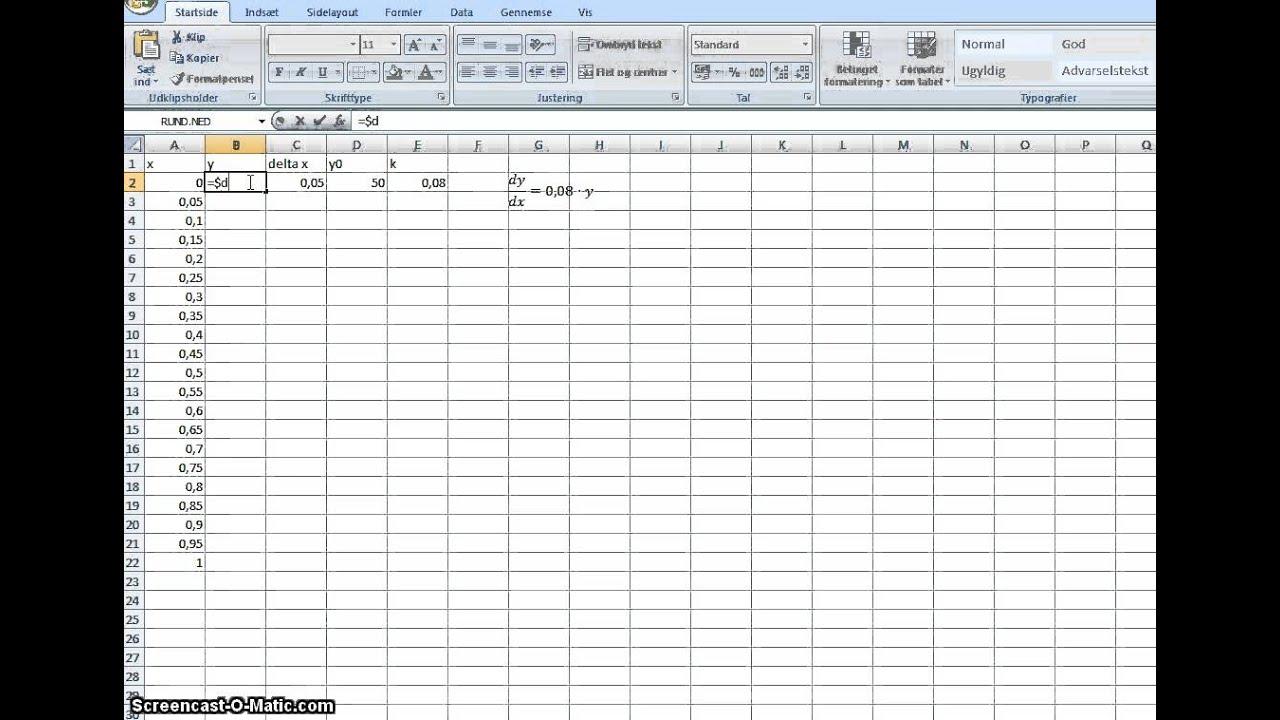 differentialligninger Excel