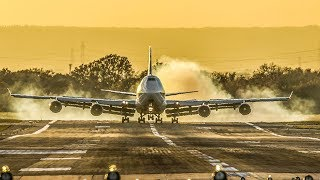 BOEING 747 Sunset LANDING with lots of SMOKE (4K)
