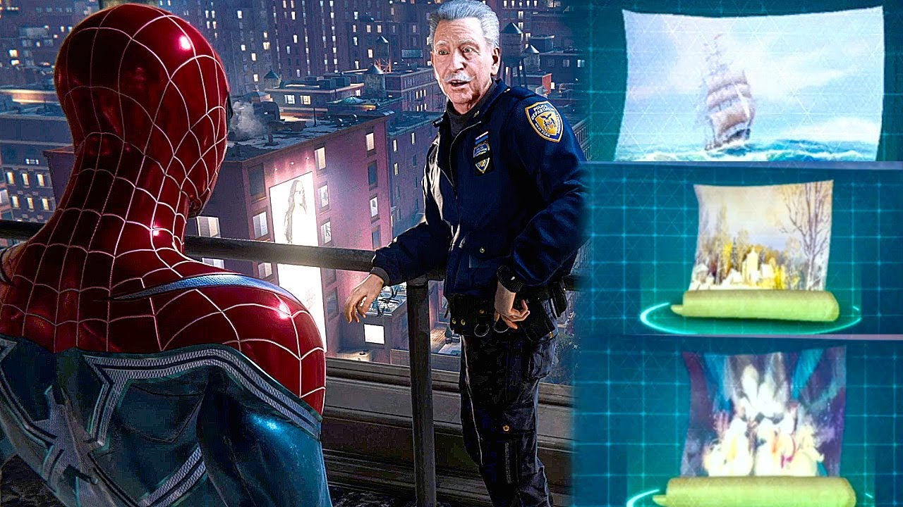 Download SPIDERMAN PS4 All Hidden Paintings (Detective Mackey Story) SPIDER MAN PS4 The Heist DLC
