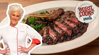 Anne Burrell's Dry Rubbed Bison Smoked Rib-Eye | Worst Cooks in America | Food Network