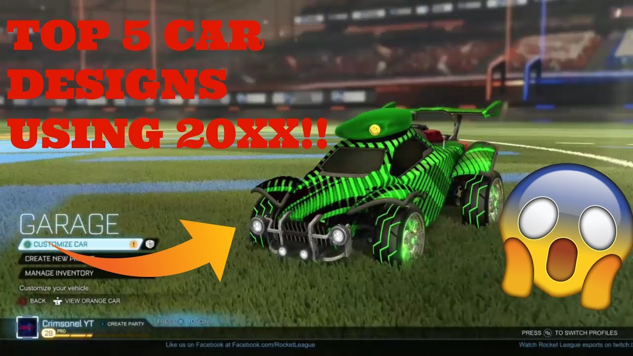 Car Giveaway 2017 >> Top 5 Car Designs Using 20xx!! Rocket League - YouTube