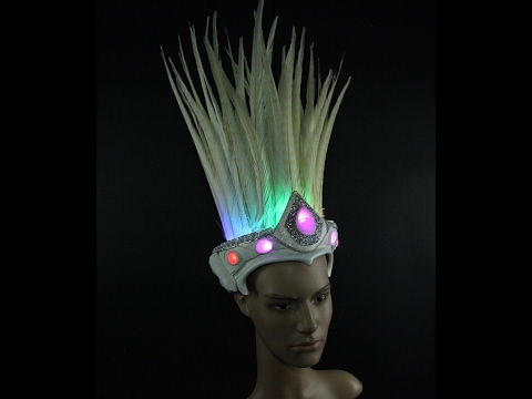 White Feather Crown Programable LED Jewel headpiece