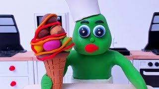 Green Baby in NEW BEST CHEF - Stop Motion Cartoons For Kids