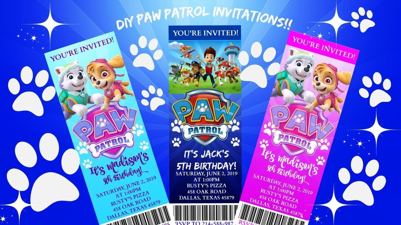 Diy Paw Patrol Birthday Invitations