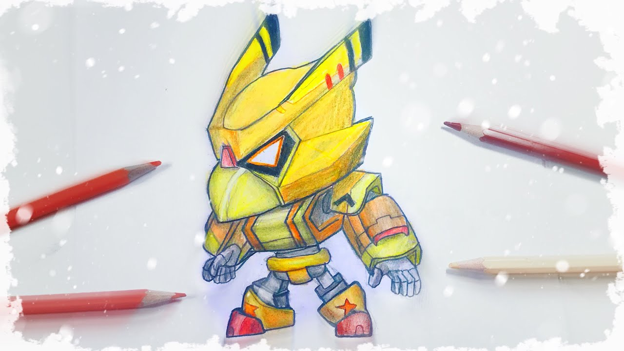 how to draw gold mecha crow from brawl stars with pencils