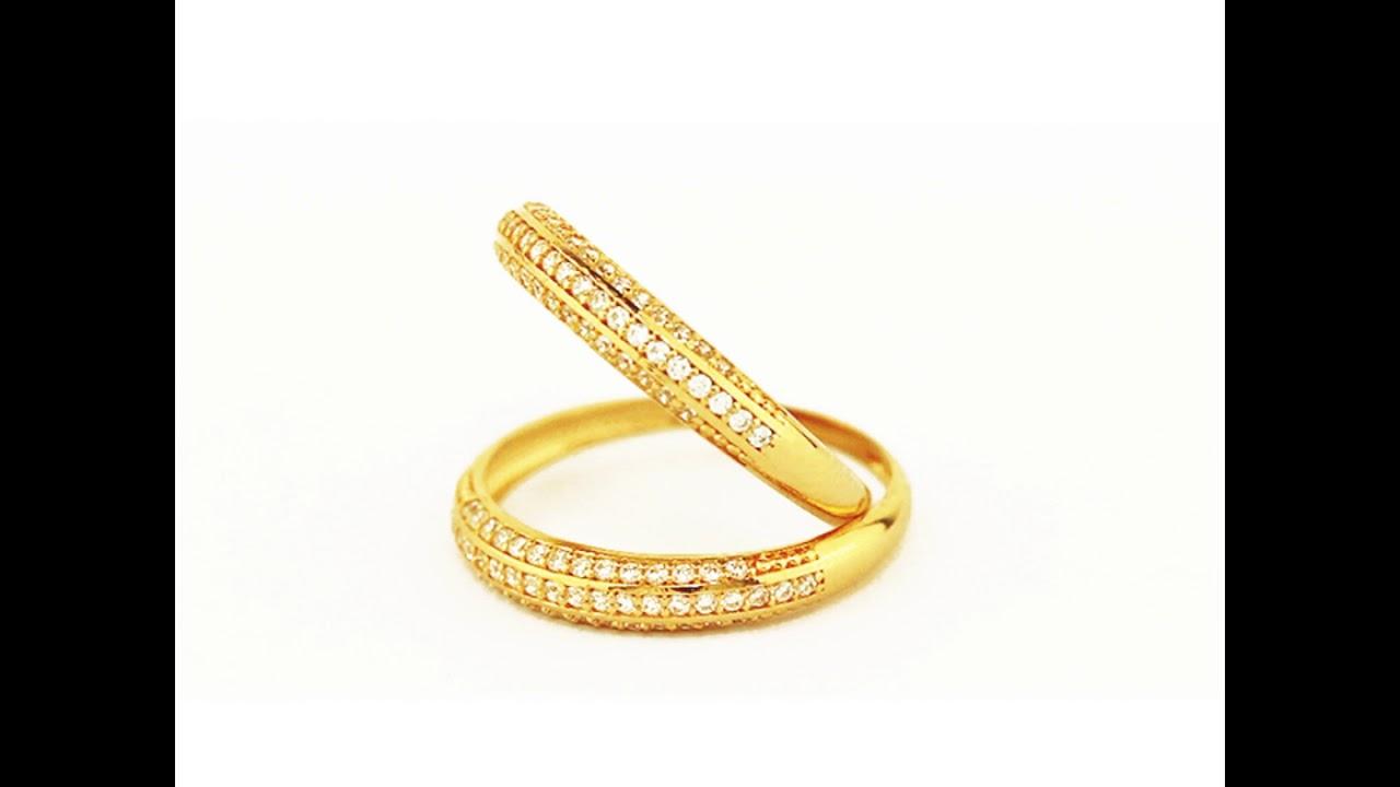 Par de aparador de aliança de ouro 18k com pedras e fio de ouro ... 3887664d44