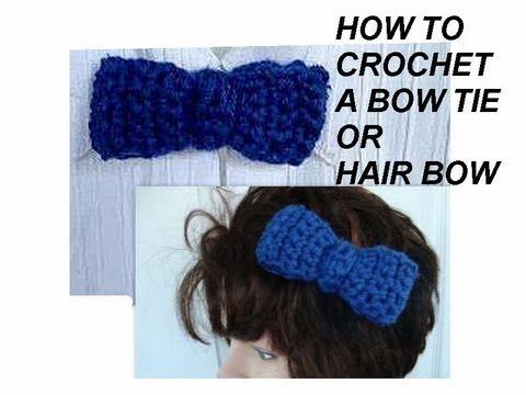 How To Crochet A Bow Tie Men Women Baby Boys Hair Bow Barrette