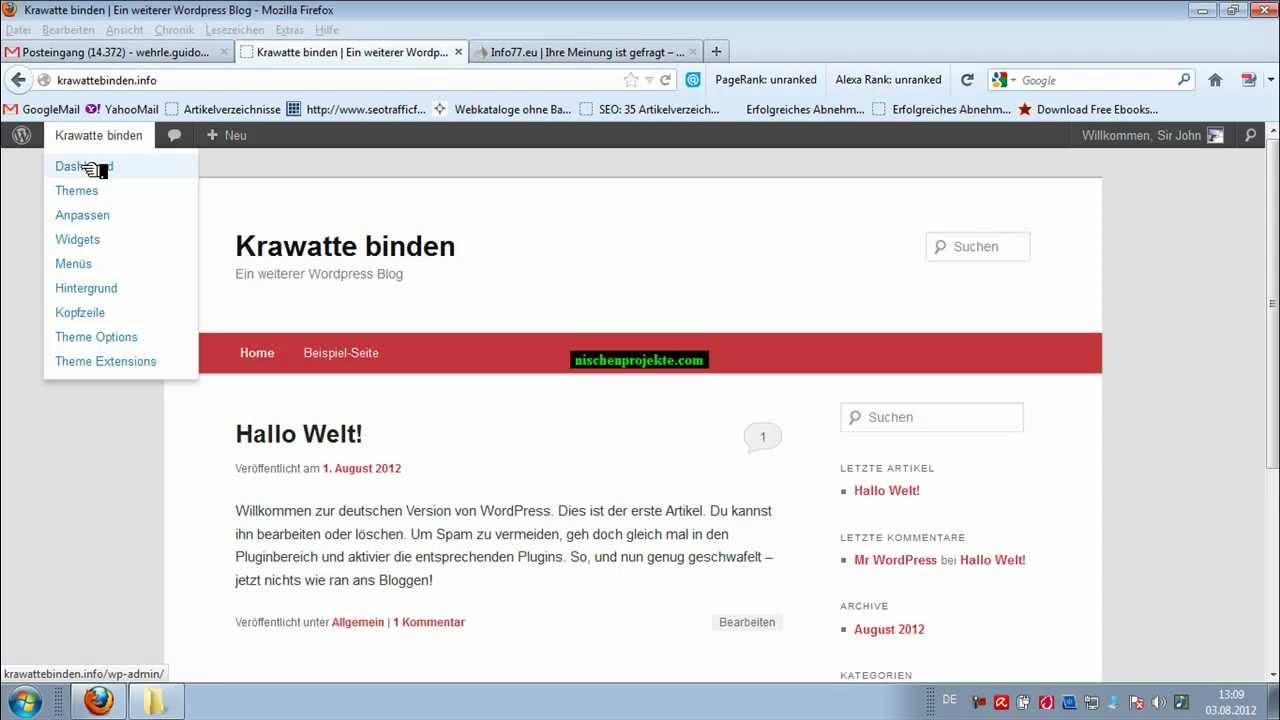 Wordpress: Eigene Headergrafik in Twenty Eleven einfügen