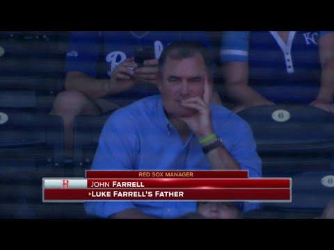 MIN@KC: John Farrell watches his son Luke's MLB debut