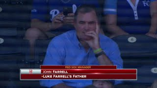 MIN@KC: John Farrell watches his son Luke's MLB debut