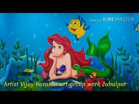 Mermaid  (jalpari)  painting kids room wall