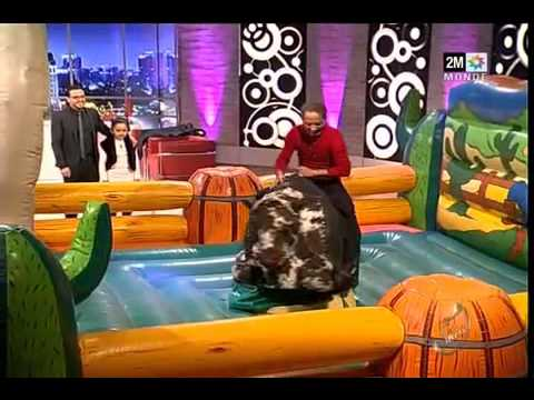 funny rodeo bull ride from moroccan actor on a show