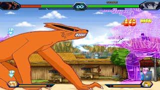 Nine-Tails (Kurama) VS Rinnegan Sasuke - Bleach Vs Naruto 3.3 (Modded)