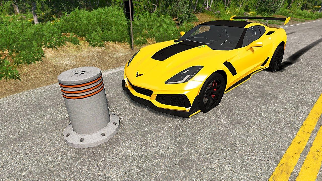صورة فيديو : سيارات VS صبه Cars vs Bollards #2 #Shorts BeamNG Drive