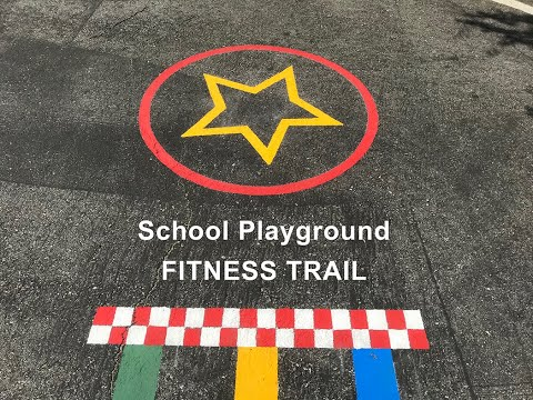 Fitness Trail - School Playground Games - Painting Asphalt Playground Markings