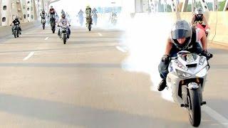 "Insane Stunt Bike Tricks ""RIDERS ARE FAMILY 2013 STREET RIDE"" Motorcycle Highway Wheelies Drifting"