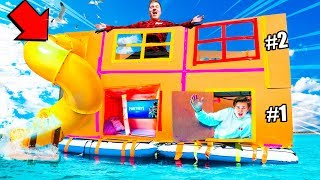 2 STORY FLOATING BOX FORT CHALLENGE!! Worlds Biggest Fort On Water