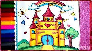 رسم قلعة سهلة جدا للأطفال والمبتدئين ، تعليم رسم قصر المدينة السحرية  ، How to Draw Castle for Kids
